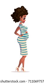 Vector illustration of black pregnant woman. Young african-american pregnant woman smiling and looking at the belly with hands on stomach. Vector flat design illustration isolated on white background.