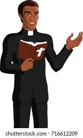 Vector illustration of a black priest reading the bible.