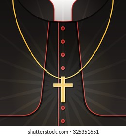 Vector illustration of black priest's costume with christian cross. Background with catholic pastor's robe