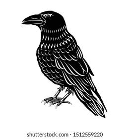 Vector illustration of a black Raven with folded wings. Profile crows. Silhouette of a crow. Sacred Celtic symbol. Sign of Vikings. Indian totem. Black tribal animals tattoo.