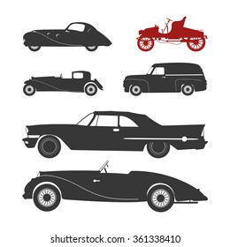 Vector illustration with black retro car silhouette