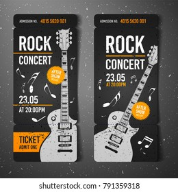 vector illustration black rock concert ticket design template with black guitar and cool splash effects in the background