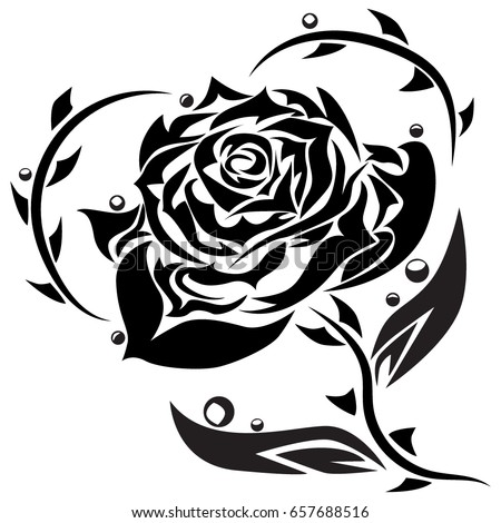 Vector Illustration Black Rose Tattoo Tribal Stock Vector Royalty
