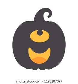 Vector illustration:  black scary carved pumpking icon isolated on white background. Decorative element for Halloween party greeting cards, posters, postcards, wrapping paper, scrapbooking
