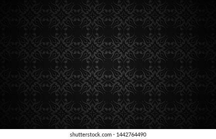 Vector illustration of black seamless wallpaper pattern