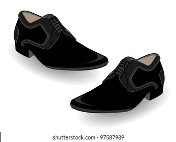 Vector Illustration of black shoes for Men, Isolated on white.