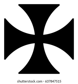 Vector Illustration Black Sign Maltese Cross Icon Isolated On White Background