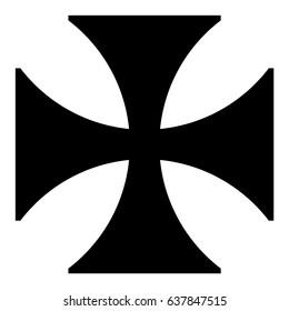 Vector illustration black sign Maltese cross icon isolated on white background.