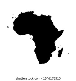 Vector illustration of black silhouette Africa. Vector map.