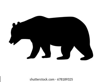 Vector illustration of a black silhouette bear. Isolated white background. Icon bear side view profile.