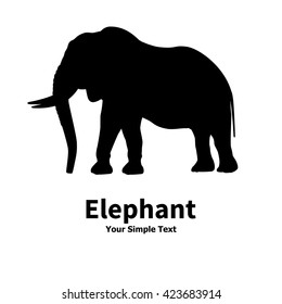 Vector illustration of black silhouette of big elephant with its trunk and tusks. Drawing on isolate white background. Elephant logo icon. Side view of the profile.