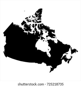 Vector illustration black silhouette Canada map icon.