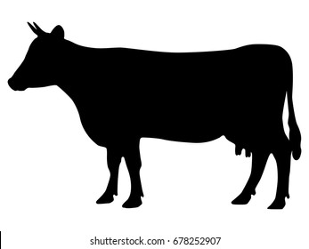 Vector illustration of a black silhouette cow. Isolated white background. Icon cow side view profile.