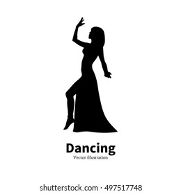 Vector illustration of black silhouette of a dancing girl. Dancer woman on an isolated white background. The concept of oriental Eastern belly dance.