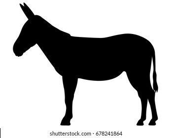 Vector illustration of a black silhouette donkey. Isolated white background. Icon animal donkey side view profile.