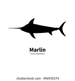 Vector illustration of black silhouette of fish marlin. Isolated on white background. Logo icon swordfish. Side view of the profile. The concept of fishing at sea, in the ocean.