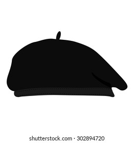 Vector illustration black silhouette of french beret. Painter hat. French  hat. 244f049544b