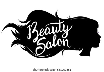 Vector illustration of a black silhouette girl face for a beauty salon