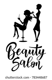 Vector illustration of black silhouette hairdresser and client. Logo template for hair or beauty salon, cosmetic procedures, spa center.
