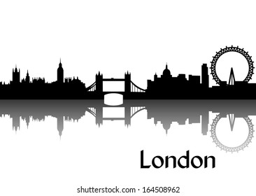 Vector illustration of black silhouette of London skyline, the capital of Great Britain