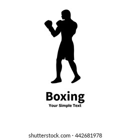 Vector illustration of black silhouette of man in boxer gloves. Drawing, image isolated on white background. Logo icon boxer. Side view of the profile.