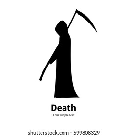 Vector illustration of a black silhouette of a man with a hood and a scythe. Isolated on white background. The concept of death. Icon grim Reaper side view.