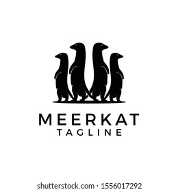 Vector illustration of black silhouette meerkat family stands on his hind legs. Isolated on white background. animal vector minimalist icon logo.