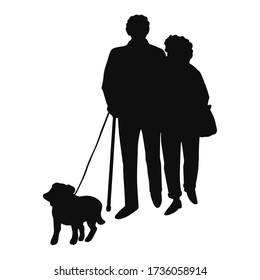 Vector illustration of black silhouette old people walking with dog, isolated on white background