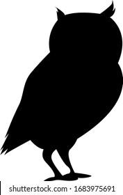 Vector illustration, black silhouette on white background, animal owl.