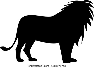 Vector illustration, black silhouette on white background, lion.