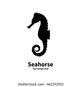 Vector illustration of black silhouette of a sea horse isolated on white background. Hippocampus side view profile. Seahorse logo icon.