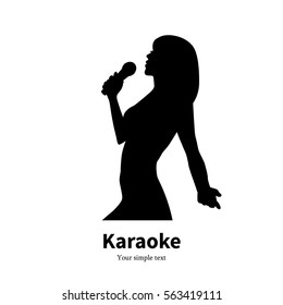 Vector illustration of black silhouette of a singing girl with a microphone. Isolated on white background. Female silhouette karaoke. Woman singer in concert. Side view, profile.