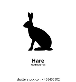 Vector illustration of black silhouette sitting rabbit. Drawing, picture isolated on a white background. Bunny side view profile. European hare.