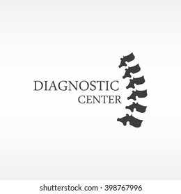 Vector illustration black silhouette spine diagnostic symbol, design, sign. Diagnostic center