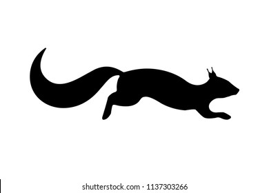 Vector illustration of a black silhouette of a squirrel. Isolated white background. Icon of the squirrel side view, profile.