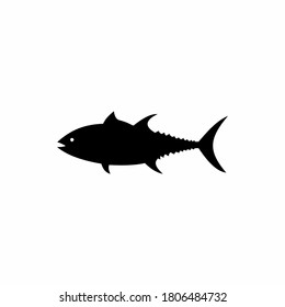 Vector illustration of black silhouette of tuna fish. Drawing, image isolated on white background. Tunny logo icon. Tuna side view profile.