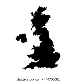 Vector illustration black silhouette of uk map. England map