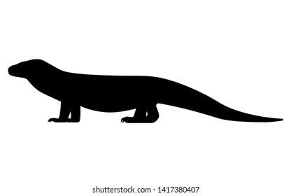 Vector illustration of black silhouette of varanus. Isolated white background. Komodo monitor lizard icon logo, side view profile.