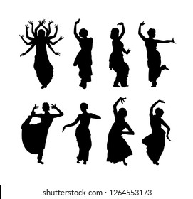 Vector illustration of black silhouettes of Indian dancers in different positions, big set isolated on white background