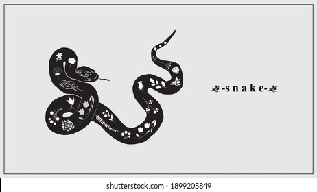 Vector illustration of a black snake with white flowers and plants. EPS 10.