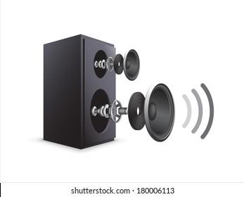 A vector illustration of a black speaker showing its components/Speaker Components