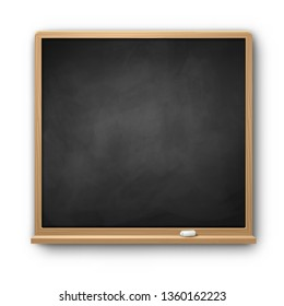 Vector illustration of black square chalkboard with wooden frame with piece of chalk and shadow isolated on white background.