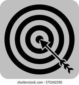 Vector Illustration of Black Target with Arrow Icon in black