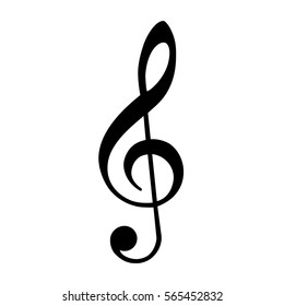 Vector illustration black treble clef isolated on white background. Music key. Musical symbol.
