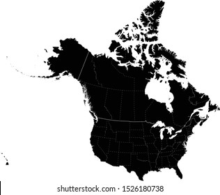 vector illustration of Black USA and Canada dashed line map with state