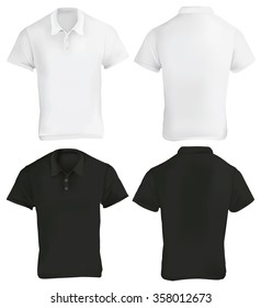 Vector illustration of black and white blank polo shirt template, front and back, realistic gradient mesh design, isolated on white