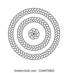 Vector illustration, black and white, braid circles three different diameters