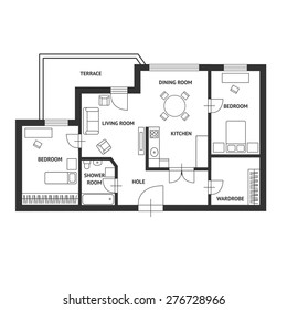 Vector illustration. Black and White floor architect plan with a furniture. Flat Design