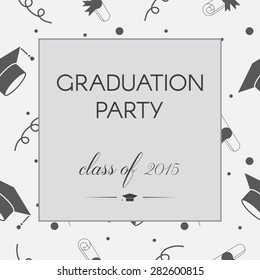 Vector illustration of black and white graduation party invitation. Vintage celebrating certificate or postcard template with tossing hats, balloons, diplomas and ribbons.