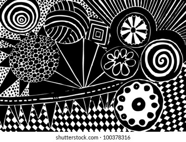 Vector illustration of black and white graphic pattern/background.
